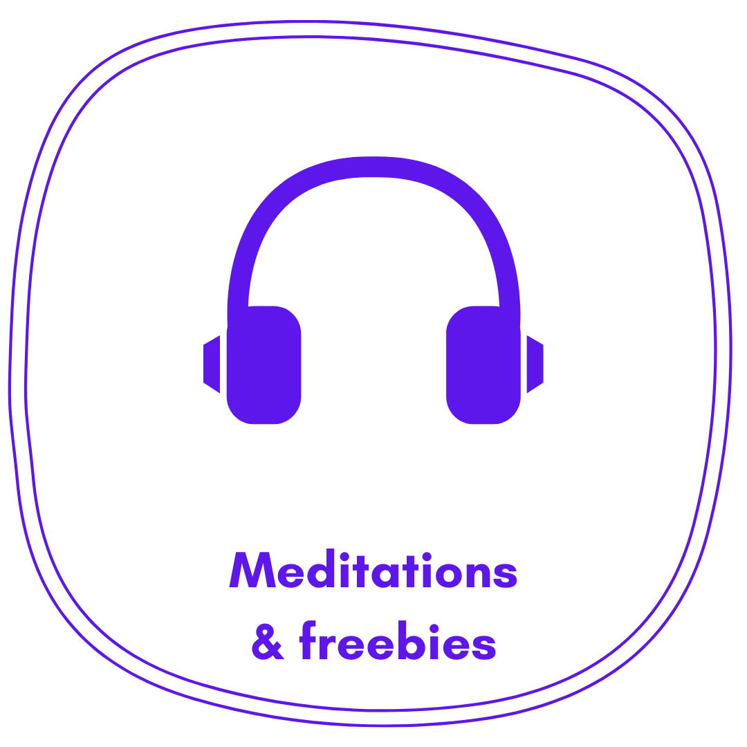 Headphones icon with text that says Meditations and freebies