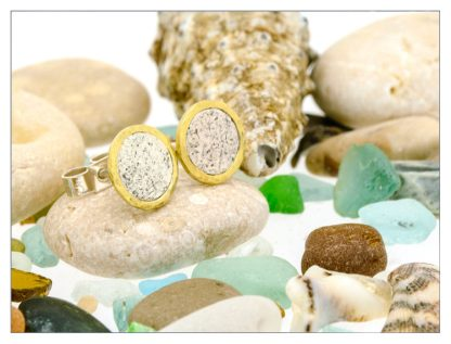 vegan silver and 18ct gold stud earrings | Lisa Rothwell-Young