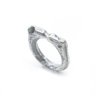 Recycled silver and diamond textured ring