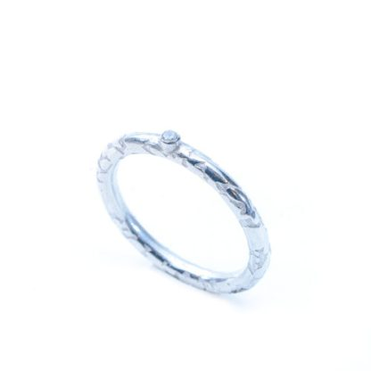 Ethical eco friendly textured silver ring