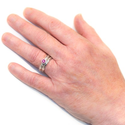 Alternative Wedding Ring - Lichen Texture Pink Sapphire Hand | Lisa Rothwell-Young