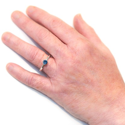 Ethical Engagement Ring - Platinum Sapphire On Hand | Lisa Rothwell-Young