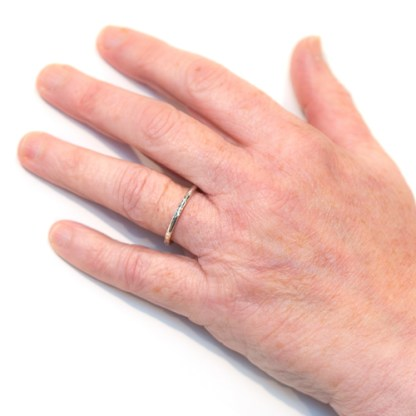 Recycled Wedding Ring - Ripple Platinum Hand View | Lisa Rothwell-Young