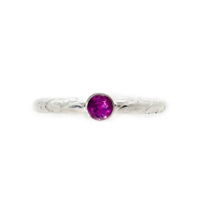 Sustainable Engagement Ring - Lichen Texture Pink Sapphire Front | Lisa Rothwell-Young