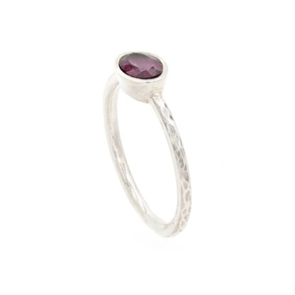 Vegan Engagement Ring - Ripple Textured Oval Side View   Lisa Rothwell-Young