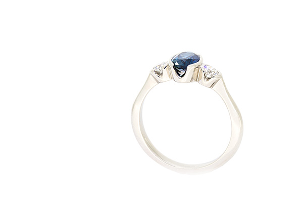 Bespoke recycled platinum engagement ring set with ethical responsibly sourced Australian sapphire and lab created diamonds