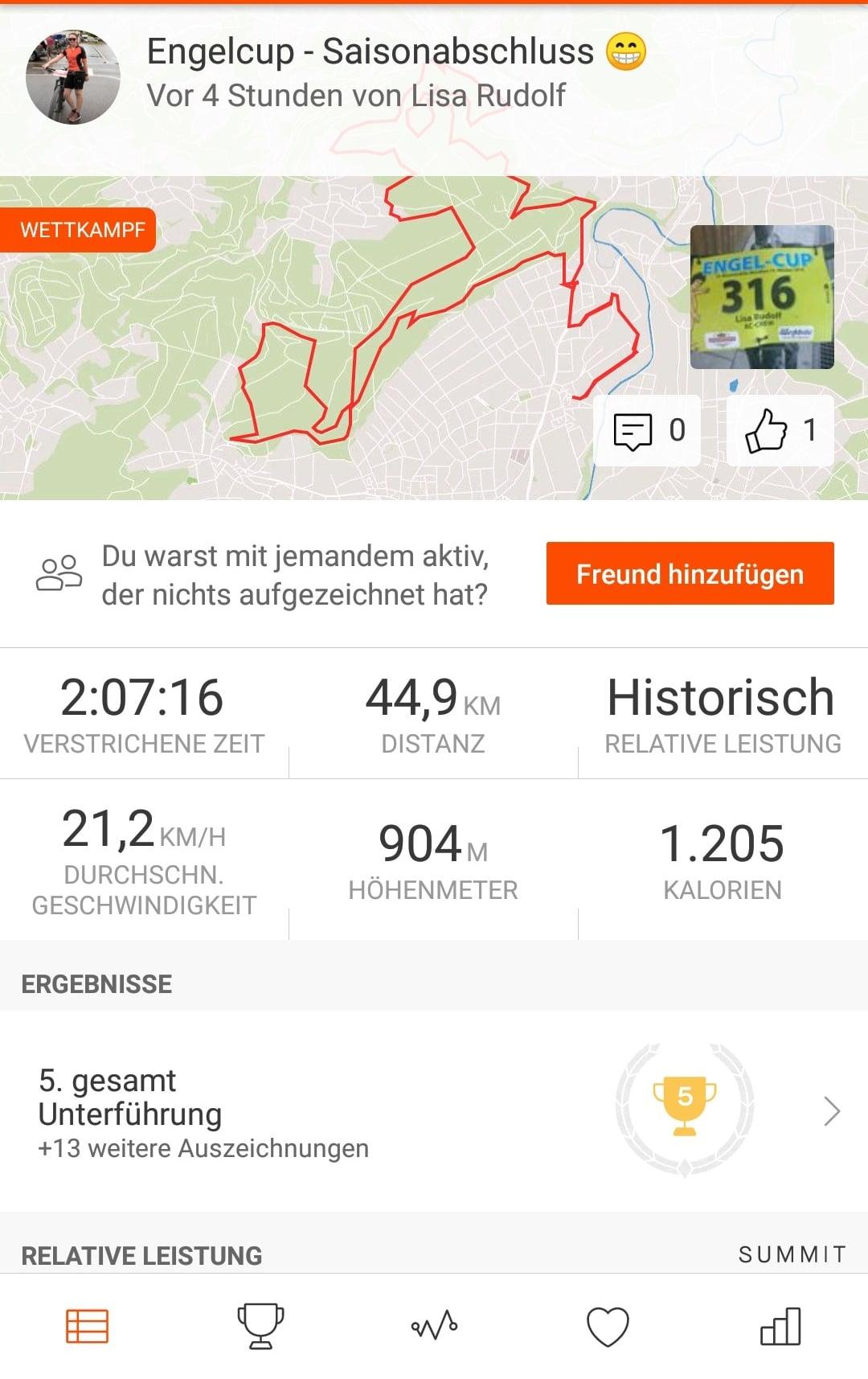 Strava Mountainbike Wettkampf Engelcup