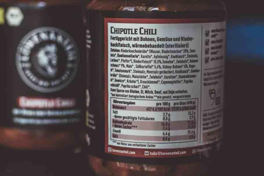Gesunde Fertiggerichte von Löwenanteil: Zutaten Chipotle Chili