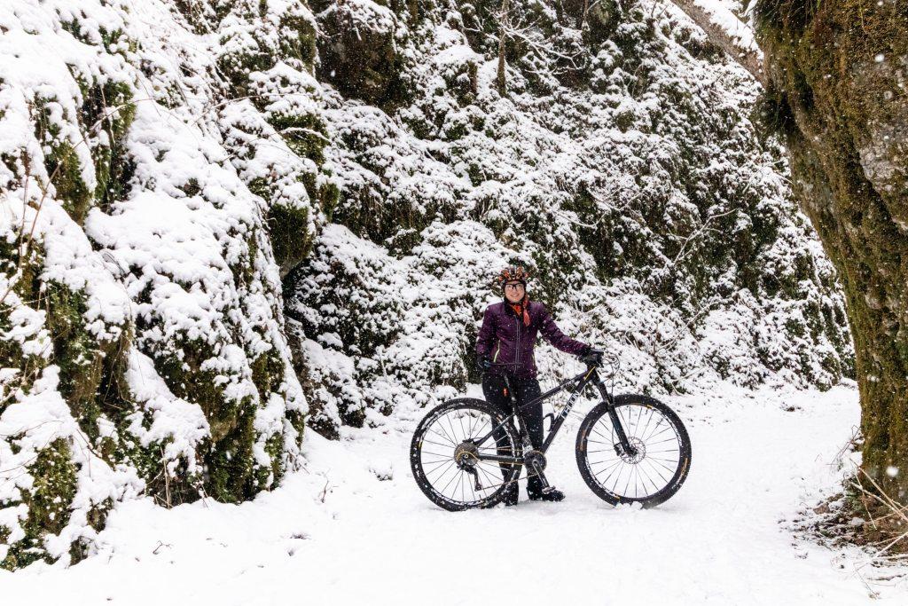 Radfahren Im Winter Winterrad Mountainbike Schnee