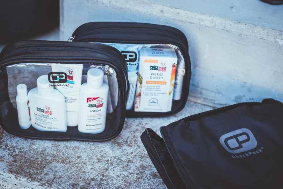 Chackpack - Aufbewahrung von Flüssigkeiten fürs Hangepäck - ideal für Hygieneartikel auf dem Weg zur Arbeit.