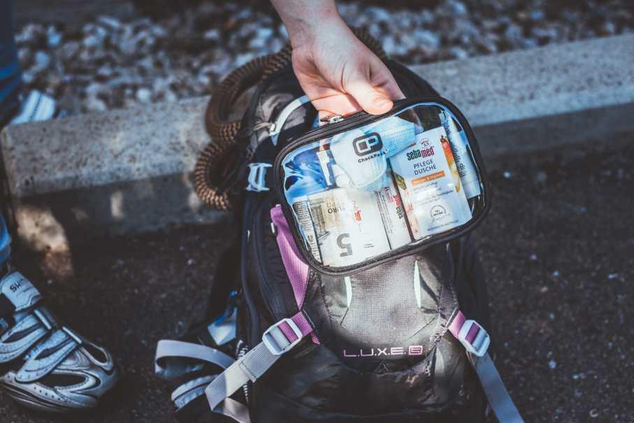Chackpack Nylon Edition zur Aufbewarhung von Hygieneartikeln beim Radfahren. Mit dem Rad zur Arbeit.