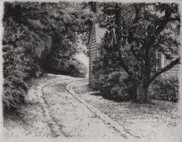 Prints Cape Cod House Driveway Etching