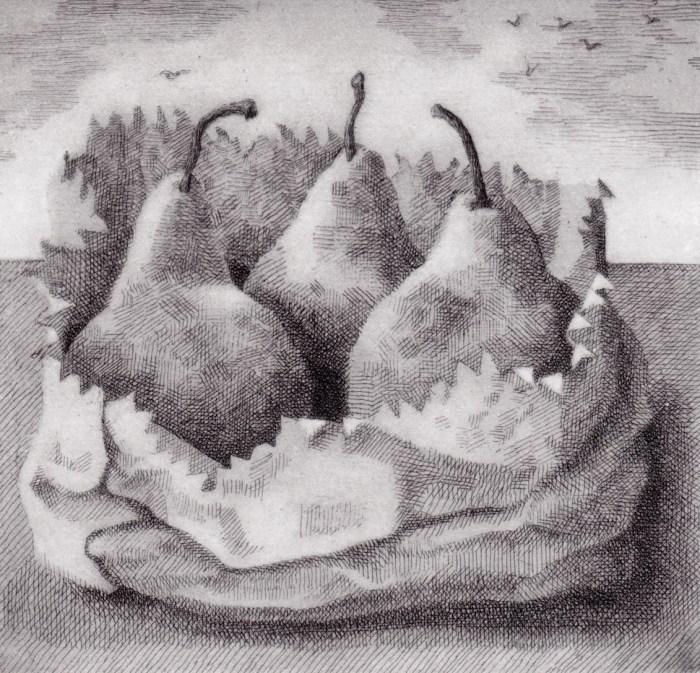 Prints Renaissance Landscape Pears Etching