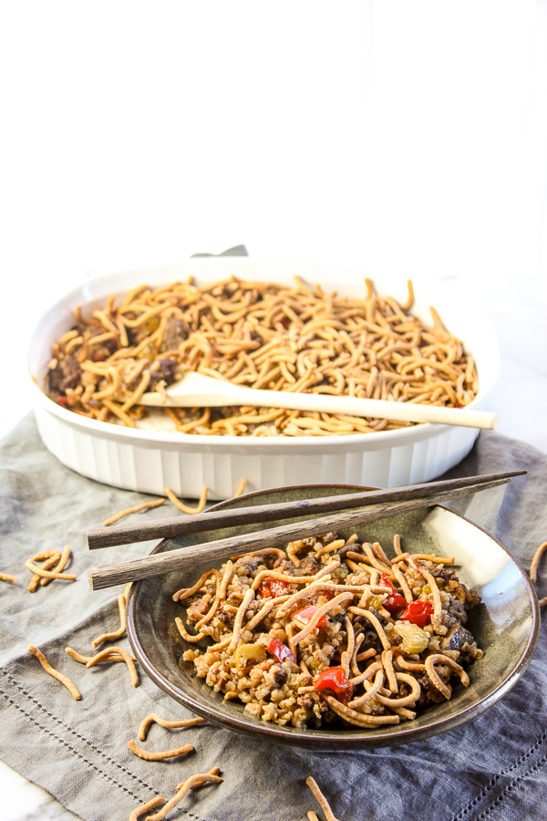 This Chowmein Casserole is a healthier, updated version of a classic favorite with an easy, homemade sauce rather than cream soup plus extra veggies. It's a comforting meal that's perfect for weeknight meals. | lisasdinnertimedish.com