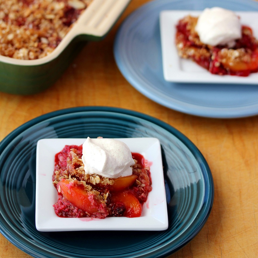 Raspberry Peach Crisp With Cinnamon Whipped Cream