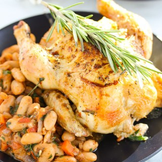 Roasted Cornish Game Hens with White bean Ragout
