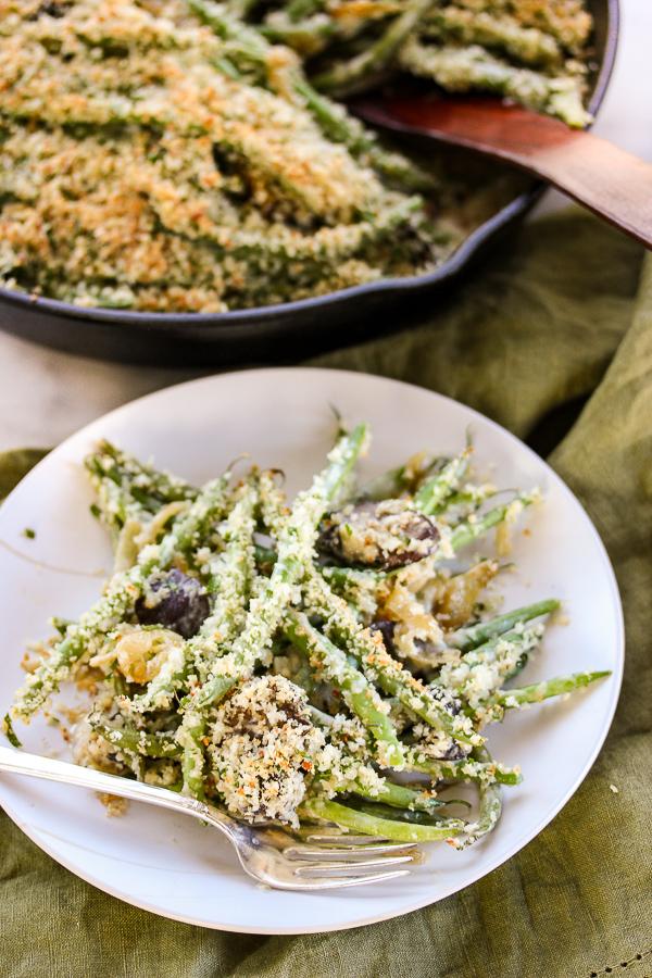 Panko Parmesan Topped Green Bean Casserole