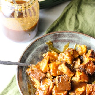Pumpkin Pie Bread Pudding with Homemade Salted Caramel Sauce