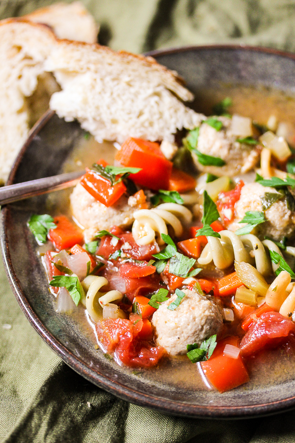 Italian Mini Chicken Meatball Soup is full of veggies and flavor with ...