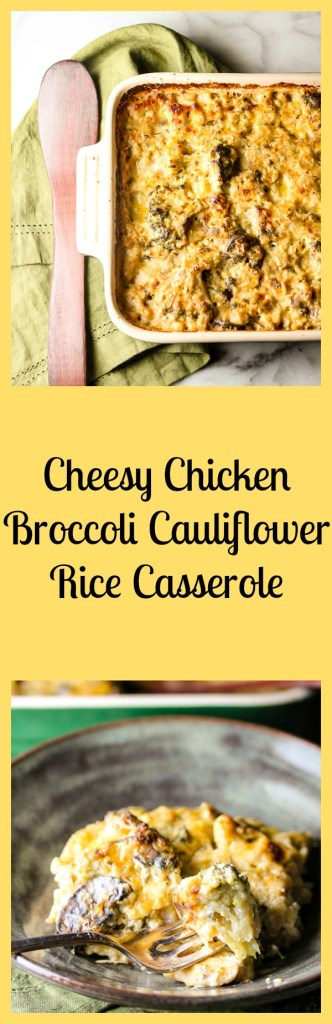 Cheesy Broccoli Chicken Cauliflower Rice Casserole is a low carb dish that's packed with healthy veggies and  creamy, cheesy, comfort food goodness.