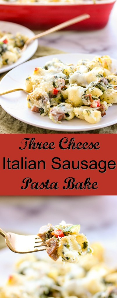 create this scrumptious Three Cheese Italian Sausage Pasta Bake.
