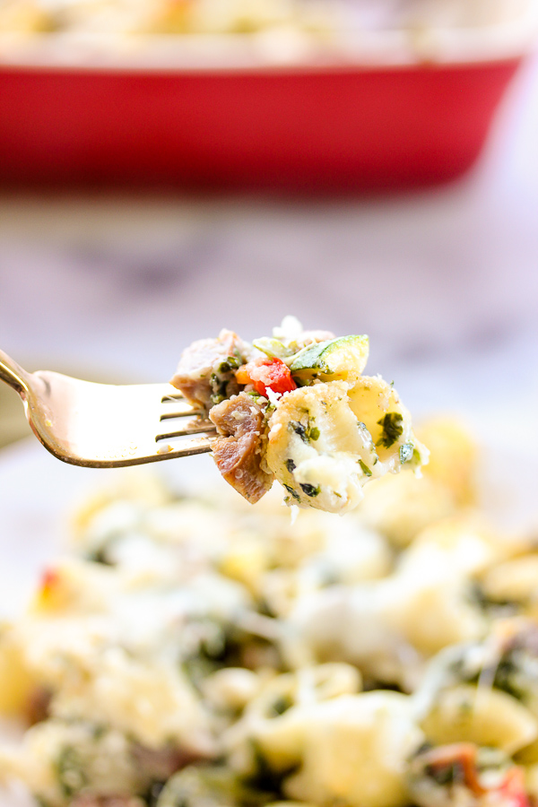 Homemade alfredo sauce combines with fresh veggies, Klement's Italian Sausage and cheese to create this scrumptious Three Cheese Italian Sausage Pasta Bake.