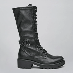 Murphys---NeroGiardini---Black-Mid-Calf-Laced-Biker-Boot