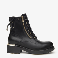 Murphys---Nerogiardini---Black-Laced-Military-Boot-with-a-Gold-zip