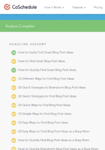 Once I have blog post ideas, I use the Headline Analyzer to brainstorm headlines