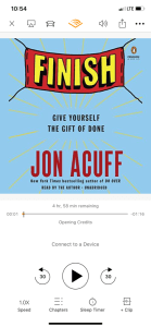 Screenshot of Audible and the book Finish by Jon Acuff