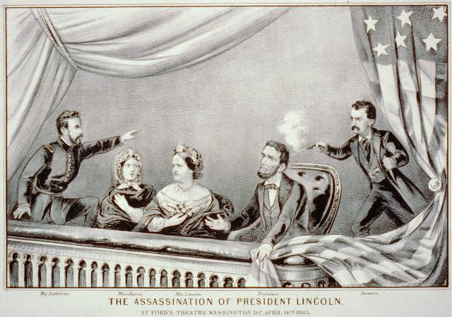 Lincoln is assassinated at Ford's Theatre by John Wilkes Booth, April 14, 1865