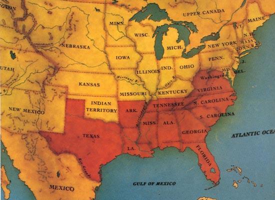 The Confederacy 1861-1865 (orange)