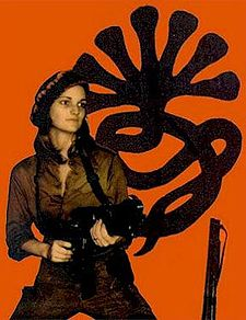 Patty Hearst (b. 1954) from a Symbionese Liberation Army photo
