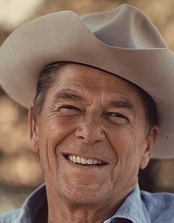 Ronald Reagan in a cowboy hat, circa 1976