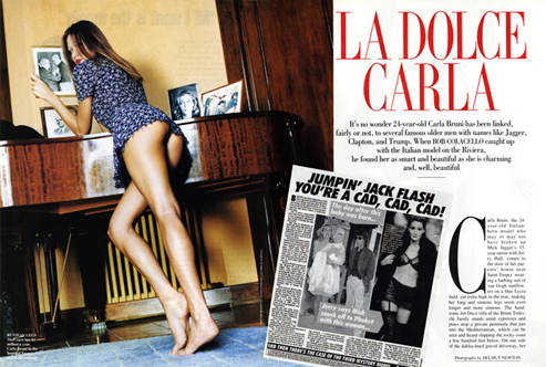 Carla Bruni's famous backside, photographed by Helmut Newton, long before she became First Lady of France