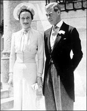 "Wallis Warfield marries the former King Edward VIII of Britain on June 3, 1937, in France. The day before the wedding, the Prince's brother, the new British king, George VI, sent him a letter granting him and Wallis new titles: the Duke and Duchess of Windsor. The titles were hollow; there was no dominion of Windsor to rule. Even worse: the King's letter contained a bomb - the Prince, despite his abdication of the throne, could continue to ""hold and enjoy...the title, style or attribute of Royal Highness,"" but his bride, the Duchess, could not, nor could any of their offspring. She, though a duchess, was denied what her sister-in-laws would enjoy - that her name would be preceded by the magic initials 'H.R.H.' ""What a damnable wedding present!"" Windsor shouted. (J.Bryan III and Charles J.V. Murphy,"