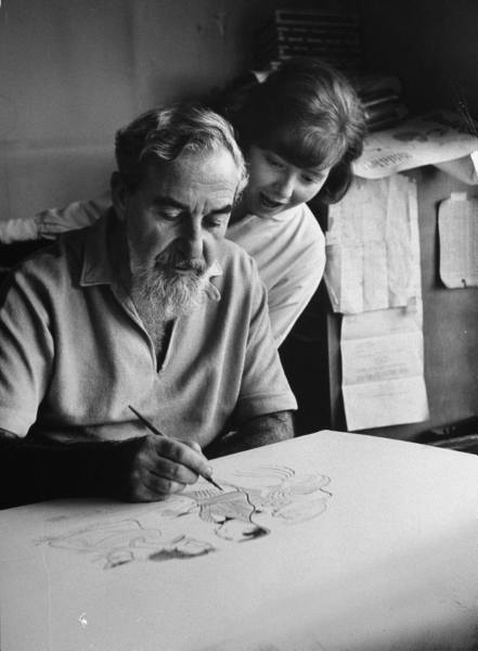 Al Hirschfeld with daughter Nina, 1961