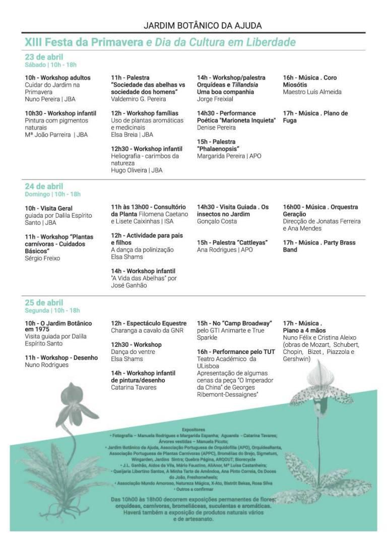 Programme festa primavera Jardin botanique de Ajuda