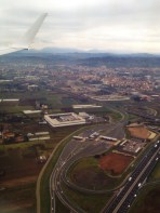Outskirts of Florence and the city in the distance.