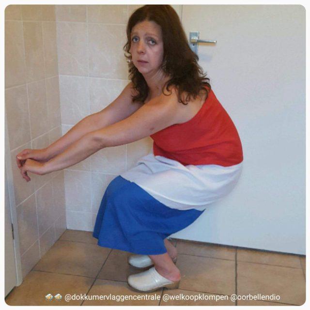 Sylvie Meis vlag oranje jurk EK