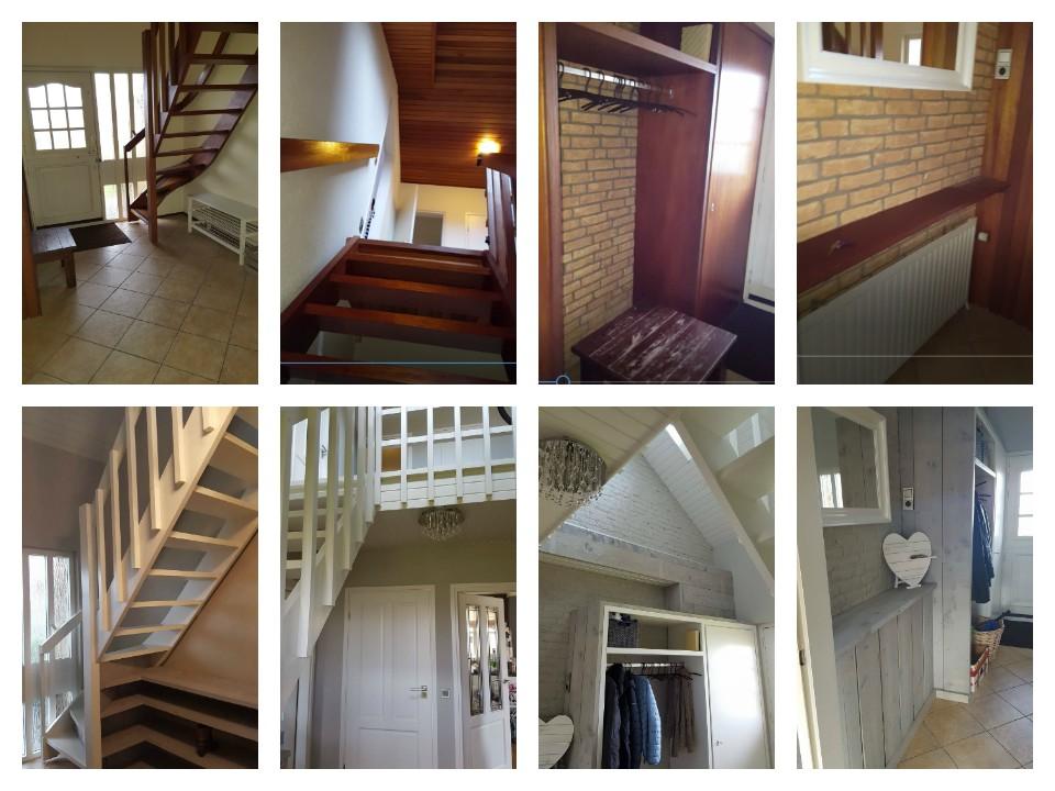 foto collage overzicht verbouwing steigerhout trap kast kapstok