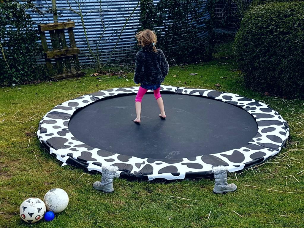 trampoline in de achtertuin Lisette schrijft
