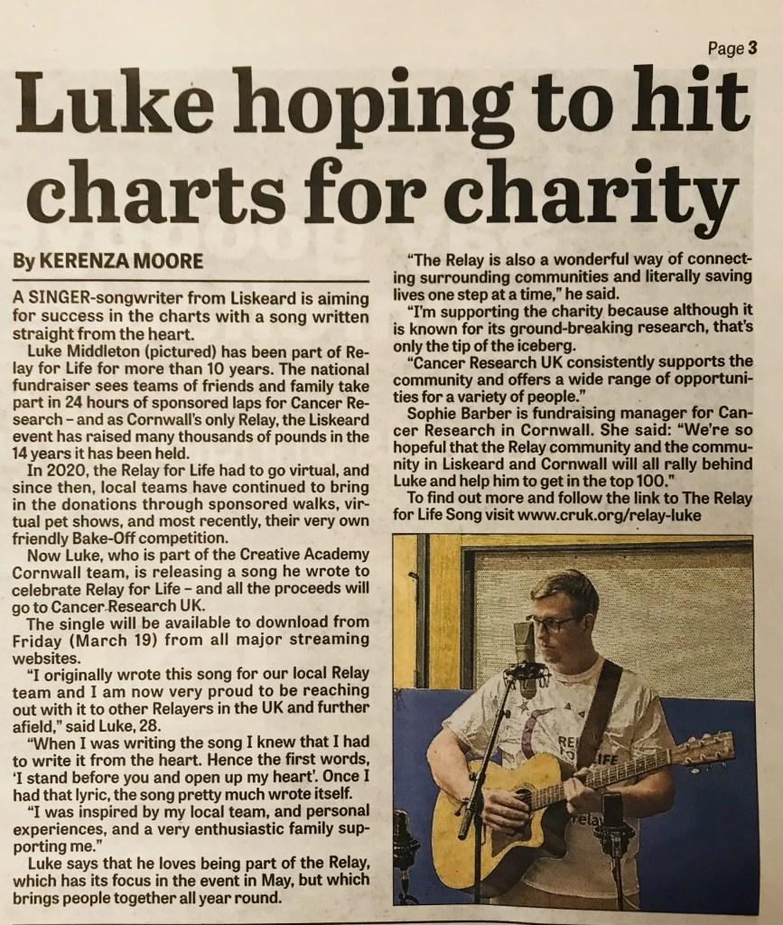 Luke song to raise money for Relay