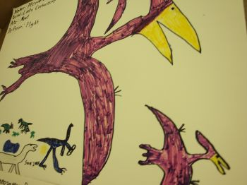 dinosaur art by Truckee local Sam Zabell