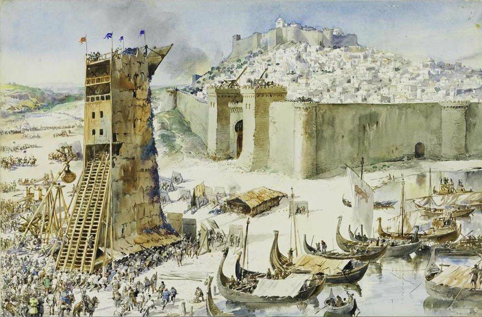 Осада Лиссабона (Alfredo Roque Gameiro, 1917 год)