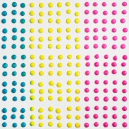 Candy Buttons - Composition in Cyan, Magenta, and Yellow