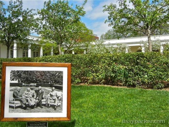 Perfect hedges surround President Eisenhower, Prime Minister Churchill,Sec. of State Dulles and British Foreign Sec. Eden