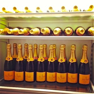 refrigerator full of champagne