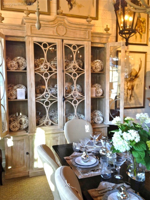 China cabinet holds an entire set of English china