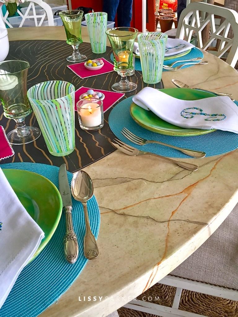 Swirl glasses in aqua and green—C.K. Swan
